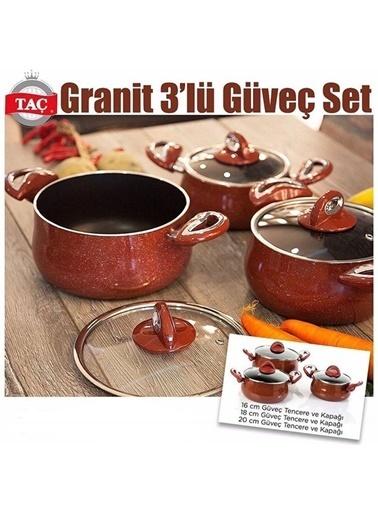 Taç Mutfak TAÇ Granit 3`lü Güveç Set (16,18 ve 20 cm) Kırmızı